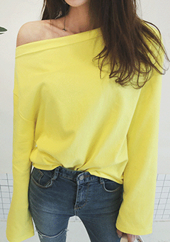 Off-Shoulder Solid Color Pullover