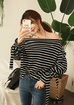 Striped Tie-Cuff Off-Shoulder Top