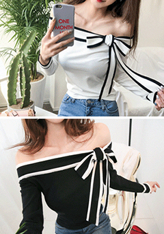 Ribbon Detail Off-Shoulder Top