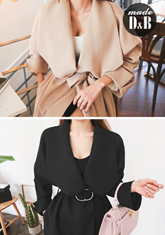 Wide Lapel Ring Belt Coat