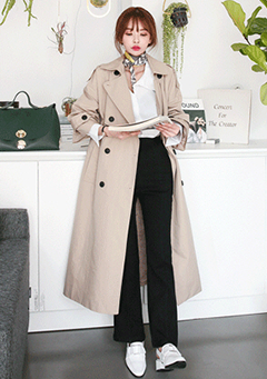 Long Widening Fit Trench Coat