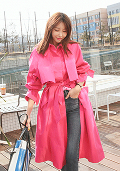 Tied Cuff Long Trench Coat