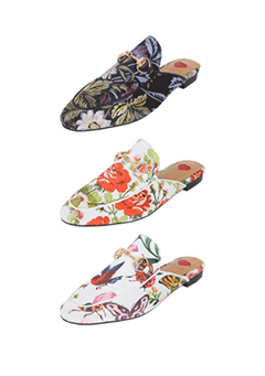 Floral Open-Back Snaffle Loafers