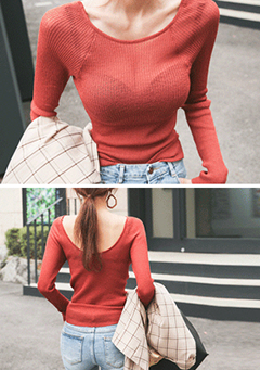 Sheer Scoop Neck Knit Top