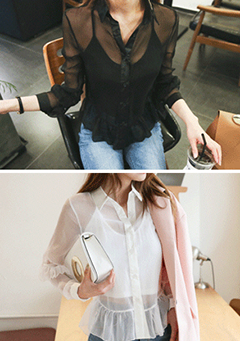 Sheer Blouse and Cropped Camisole Set