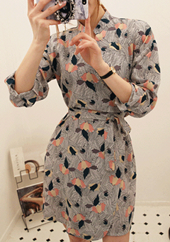 Tulip Print Mini Wrap Dress