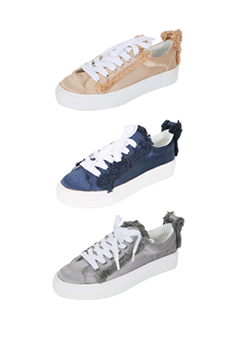 Coated Tone Ruffle Sneakers
