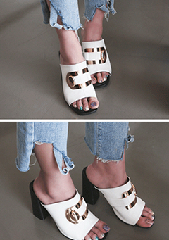 Metallic Buckle Slip On Sandals