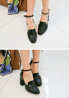 Chunky-Heeled Ankle-Strap Loafers