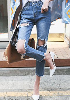 Destroyed Straight-Leg Frayed Hem Jeans