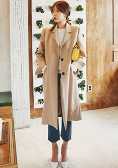 Two-Buttoned Notched Lapel Coat