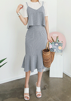 Layered Top and Midi Skirt Set
