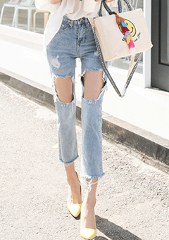 Cutout Detail Distressed Jeans