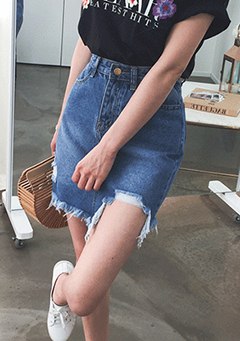 Asymmetric H-Line Denim Skirt