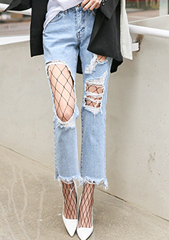 Distressed Jeans and Fishnet Stockings Set
