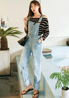 Distressed Cuffed Overalls