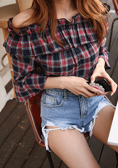 Tartan Off-Shoulder Blouse