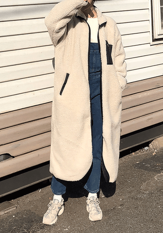 Loose Fit Collar Shearling Long Coat