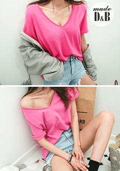 Basic Loose V-Neck T-Shirt
