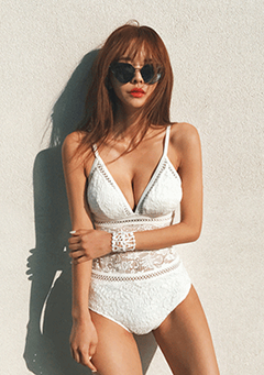 Lace Inset One-Piece Swimsuit