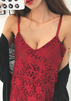 Lace Overlay Slip Dress