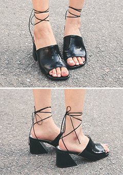 Lace-Up Block-Heeled Mules