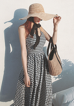 Gingham Check Ribbon Accent Dress