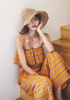 Tiered Bust Patterned Jumpsuit