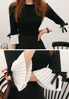 Faux Pearl Accent Pleated Cuff Shirt