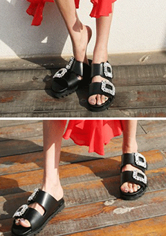 Studded Double-Strap Slippers