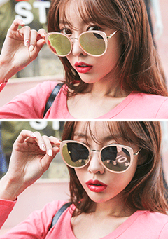 Oversized Gold-Tone Frame Sunglasses