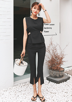 Side-Buckle Striped Top + Pants Set