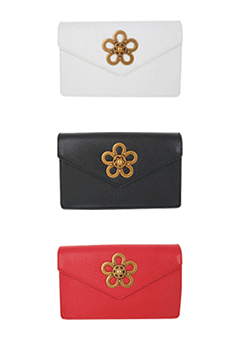 Metallic Flower Accent Envelope Clutch Bag