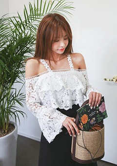 Tiered Cold-Shoulder Lace Blouse