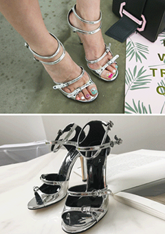 Glossy Open Toe Strappy Heeled Sandals