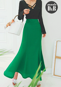 Flared Solid-Tone Long Skirt