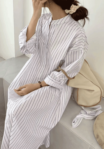 This Is Important Stripes Shirt Dress