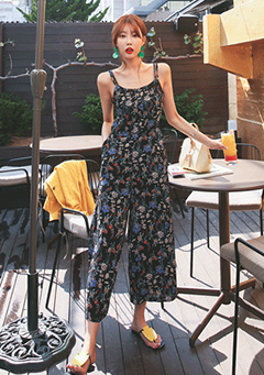 Floral Cut-Out Back Sleeveless Jumpsuit