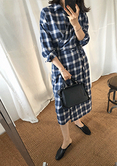 Without You Check Wrap Dress