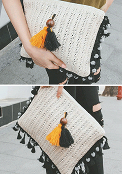 Tasseled Knitted Clutch Bag