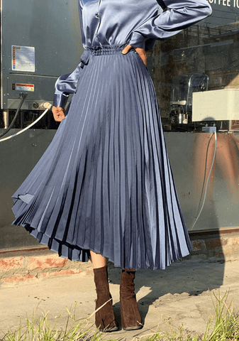 Flowy Silk Wrap Pleated Skirt