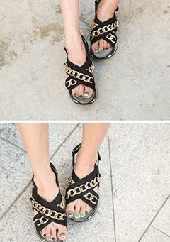 Chain Accent Slingback Sandals