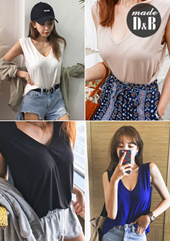 Plain V-Neck Sleeveless Top