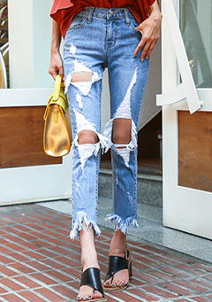 Destroyed Cropped Tapered Jeans