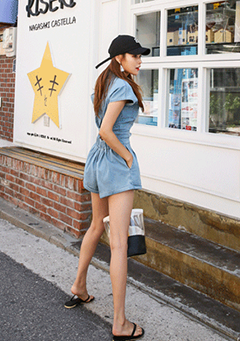 Cap-Sleeved Denim Romper