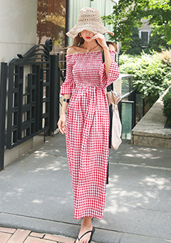 Off-Shoulder Check Long Dress