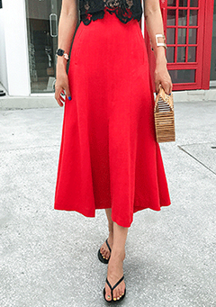 Single Tone Flared Midi Skirt