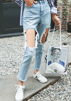 Distressed Cutout High-Rise Jeans