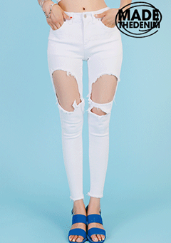 Pre-Damaged Mid-Rise Skinny Pants