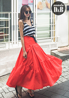 Buckled Strap Accent Flared Long Skirt
